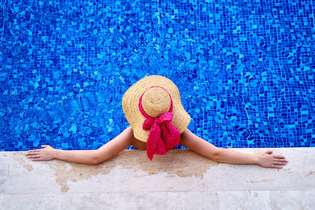 A woman in the relaxing pool