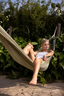 Woman relaxing at a spa hotel outdoors