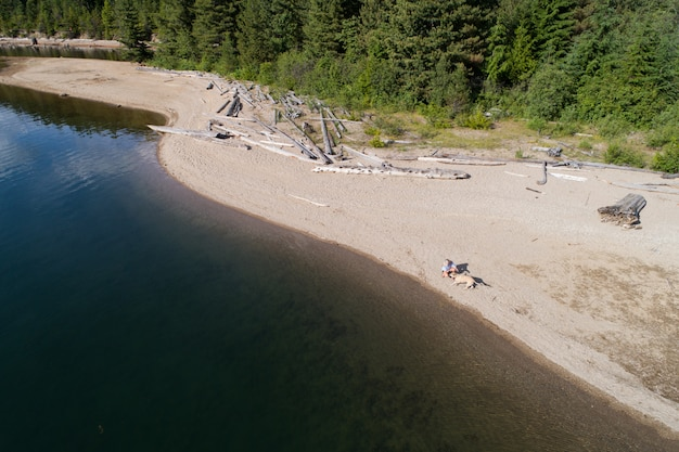 湖の岸に犬と一緒にリラックスできる女性