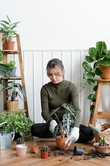 彼女の家の中で観葉植物を植え替える女性