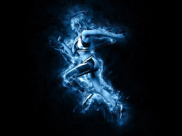 일렉트릭 블루 라이트에서 달리는 여성