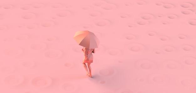 Женщина работает под дождем с зонтиком. 3d иллюстрации. скопируйте пространство.