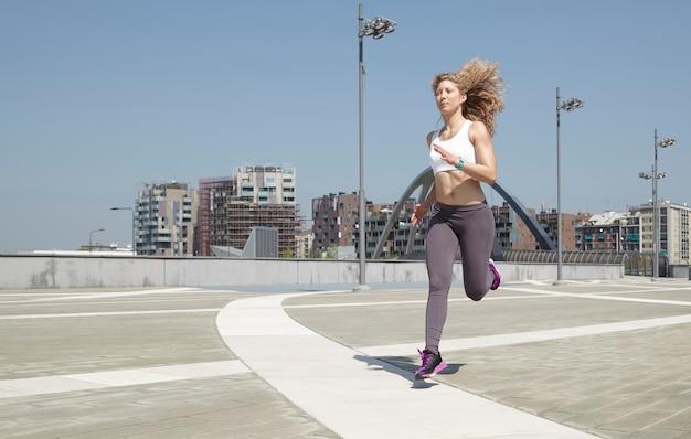 Woman running in milan