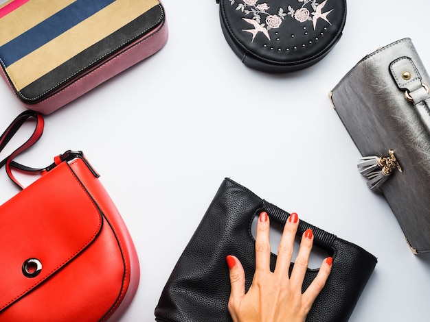 Woman's bags purses on white