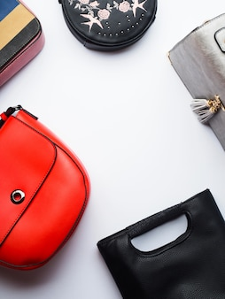 Woman's bags purses with copyspace