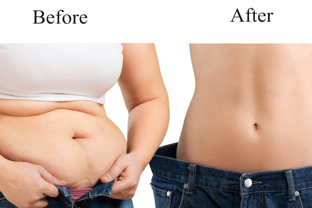 Woman's body before and after a diet close up