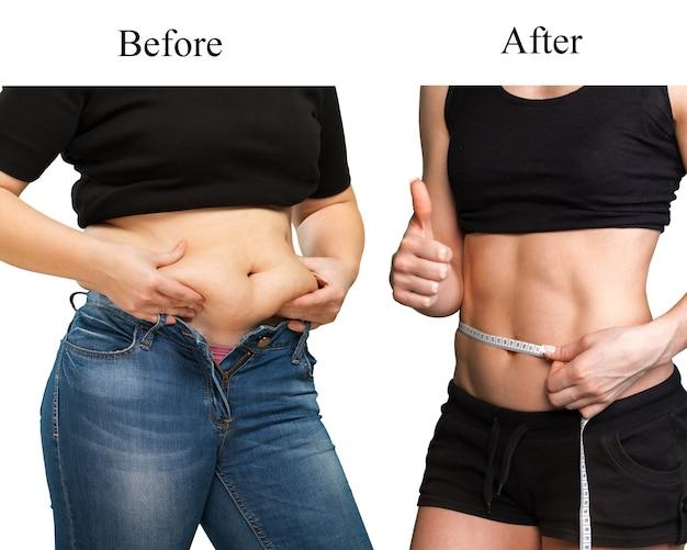 Тело женщины до и после диеты крупным планом