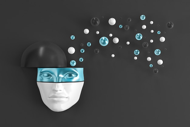 A woman's face peeking out of the wall in a shiny metal mask with flying objects from the head. 3d illustration