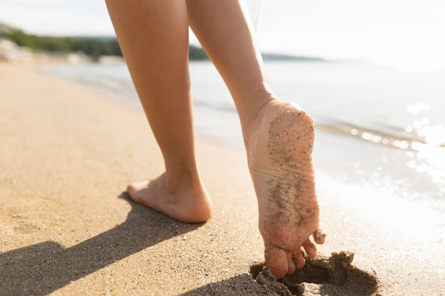 Woman's feet on beach sands