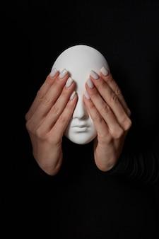 女性の指は黒い壁に石膏マスクの顔の目を閉じます。悪を見ないでください。三猿のコンセプト。テキストの場所。