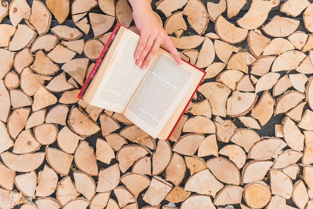 Woman's hand holding book against firewood stack wall