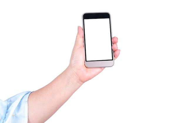 白い背景で隔離の現代のスマートフォンを持っている女性の手