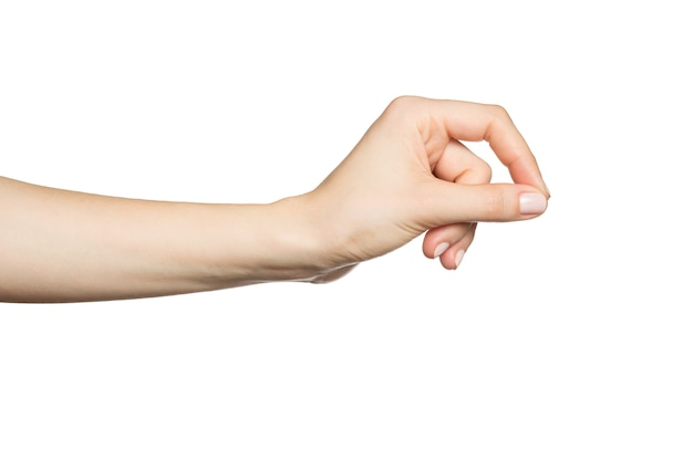 Женская рука что-то держит, изолированные на белом
