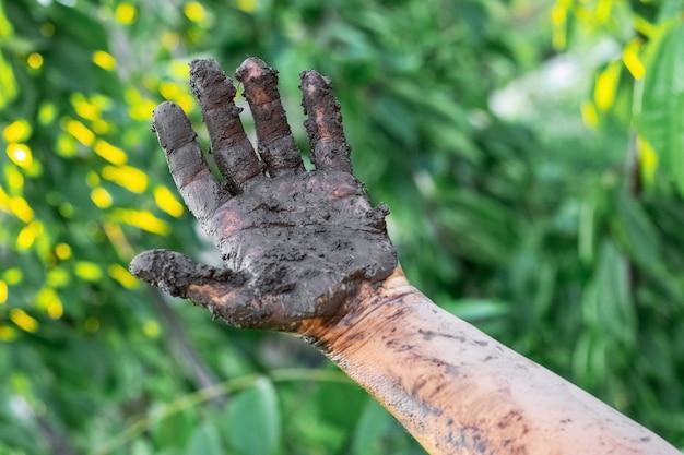 Женская рука в болоте после работы в саду