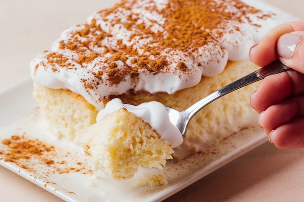 3つのミルクケーキ、ラテンアメリカのデザートのおいしい部分を拾う女性の手