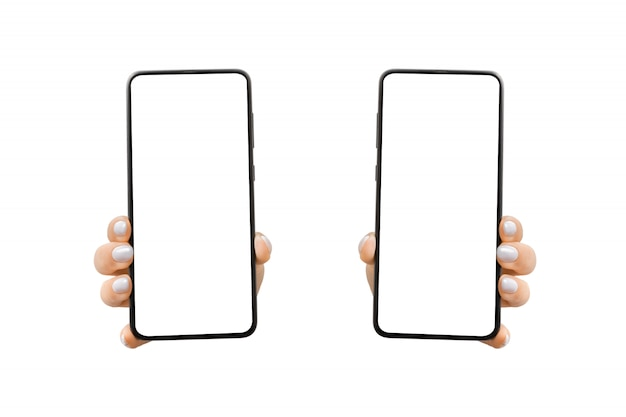 Woman's hand shows mobile smartphone with white screen in vertical position. mock up mobile.
