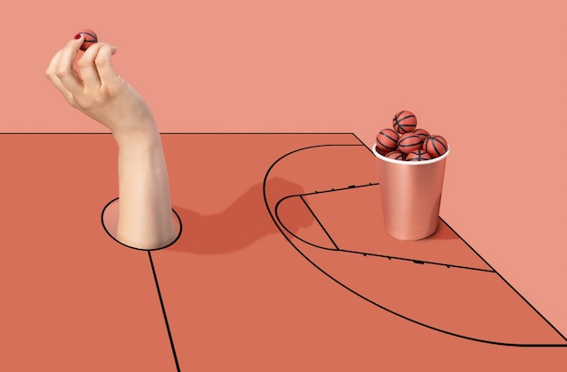 Woman's hand throwing a basketball into a cup full of basketballs on a court. sport and competition.3d illustration