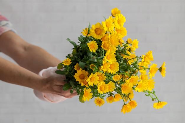 신선한 봄 꽃의 부케와 여자의 손