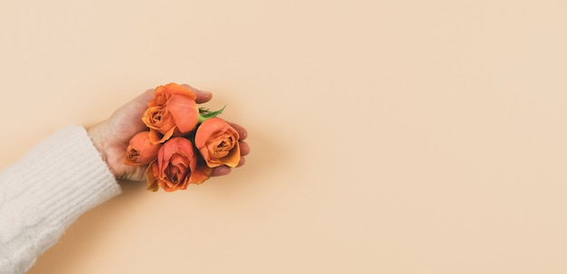 Woman's hand with orange roses on a pink background. copy space. spring concept.