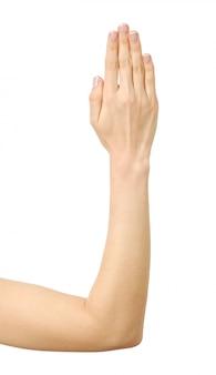 중지 제스처와 여자의 손