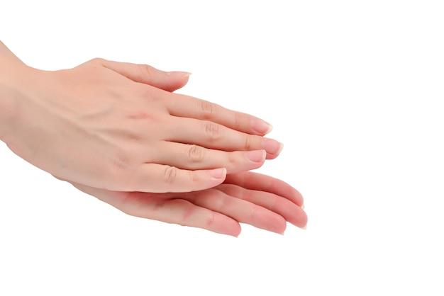 Шаблон аплодисментов женские руки, изолированные на белом фоне