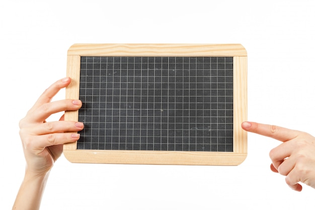 Woman's hands holding a blackboard publicity