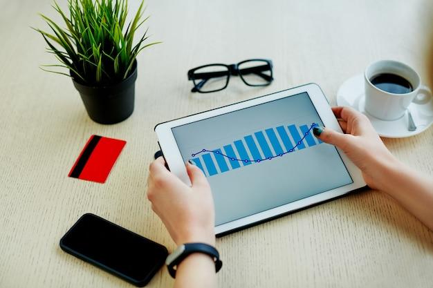 태블릿, 신용 카드, 안경, 휴대 전화 및 테이블, 프리랜서 개념, 온라인 쇼핑에 커피 한잔 들고 여자의 손.