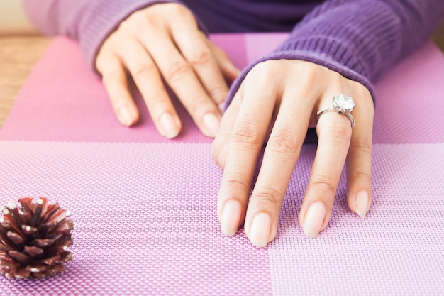 Woman's hands with wedding ring