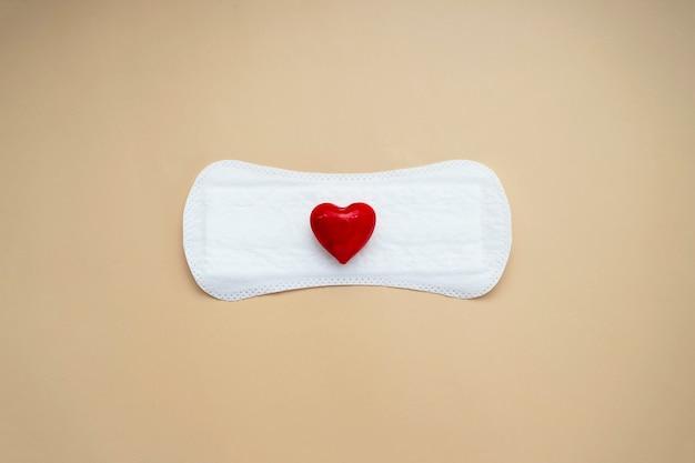붉은 마음으로 여자의 생리대입니다. 추상 여자의 건강 개념입니다. 월경 또는 생리대.
