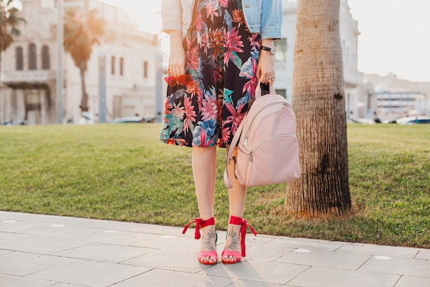Woman sandal shoes summer style fashion legs and bag