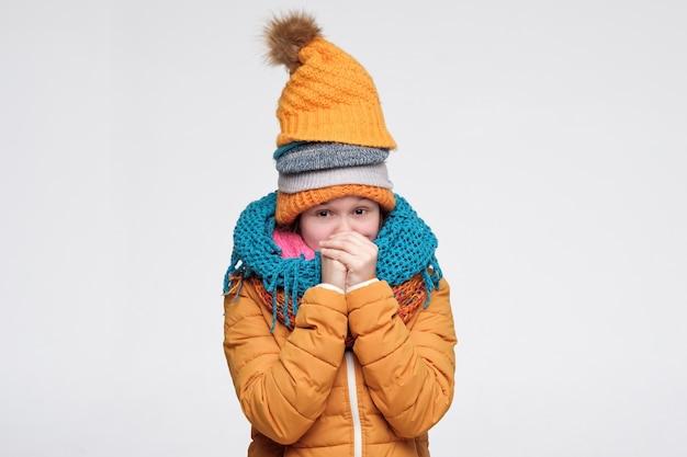 いくつかの暖かい冬の帽子とスカーフを身に着けている寒さから震えている女性