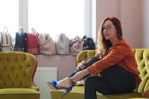 Woman in shoe shop