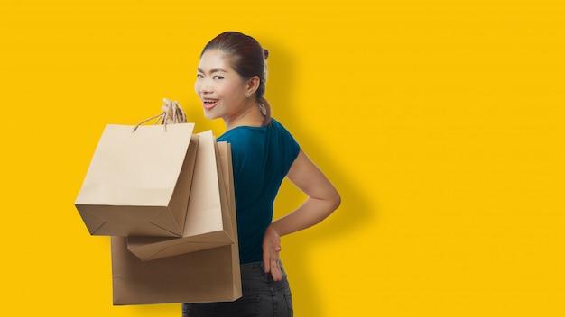 Woman shopping holding bag