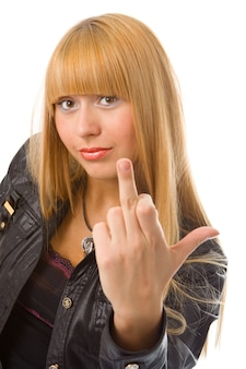 Woman show finger up over white