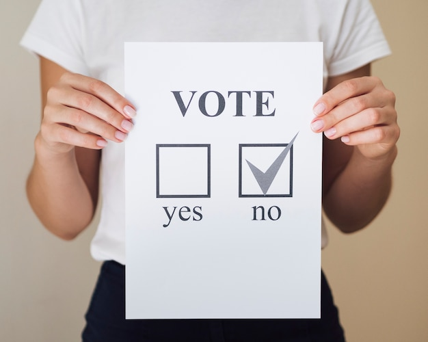 Woman showing referendum choice