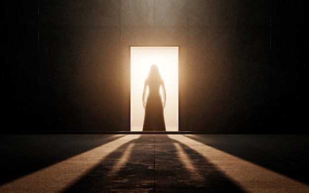 Woman silhouette in an empty room