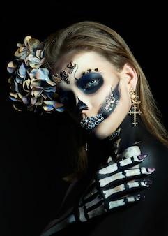 Woman in skeleton makeup