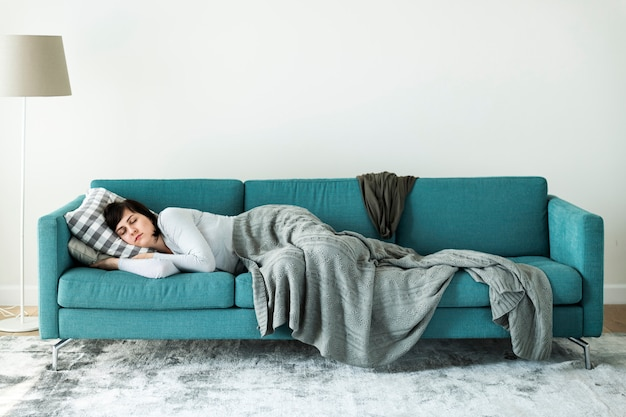 Woman sleeping on the sofa