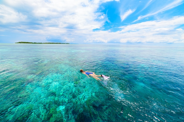 Woman snorkeling on coral reef tropical caribbean sea, turquoise blue water. indonesia wakatobi archipelago, marine national park, tourist diving travel destination