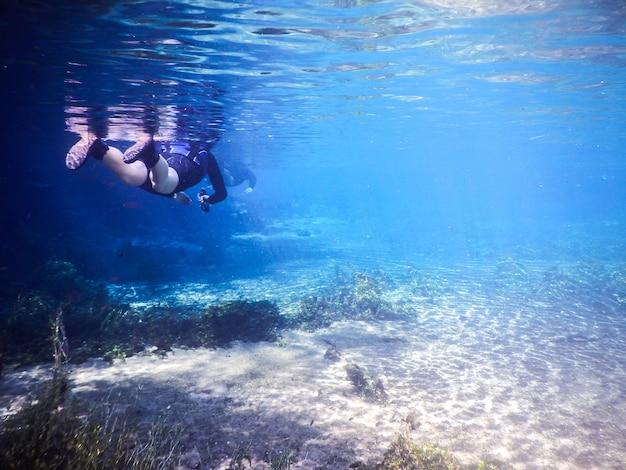 Woman snorkeling in river