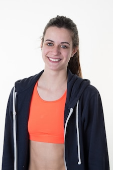 Woman in sports wear isolated