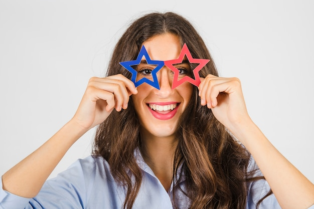 Woman in star-shaped glasses