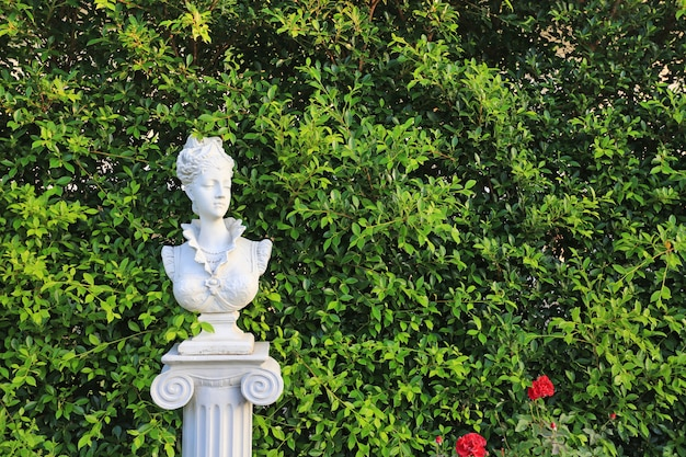 Woman statue in the garden with copy space. wall leaf in nature park.