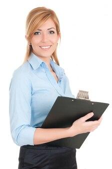 女性スチュワーデスまたはメモ帳と白い背景の上のエグゼクティブ