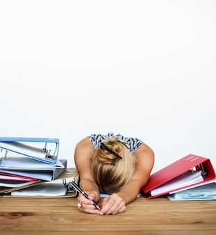 Woman stress overload hard working studio portrait