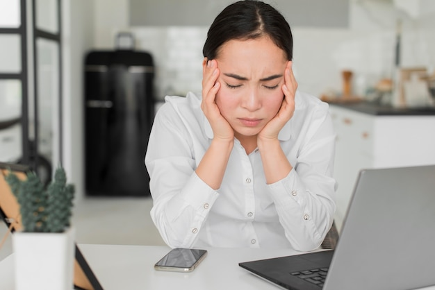 Woman stressed from work