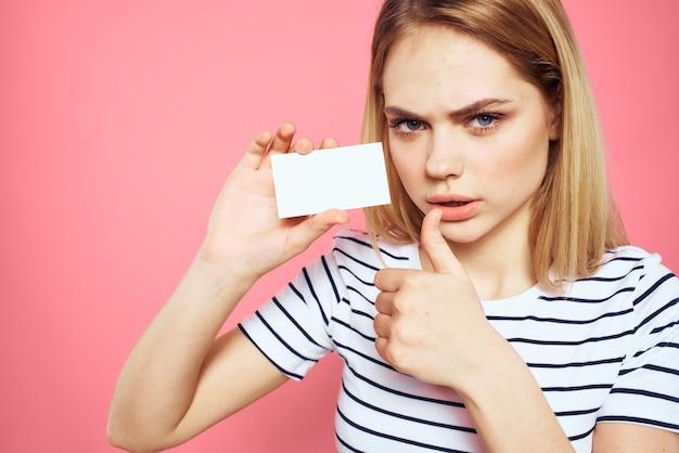 分離された手の感情の女性ストライプtシャツ名刺