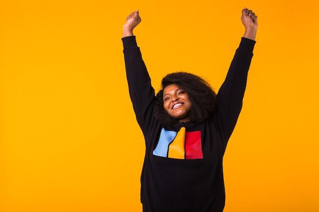 Woman in stylish sweatshirt portrait