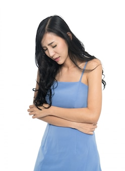 Woman suffering from stomach pain, menstruation cramp isolated on white