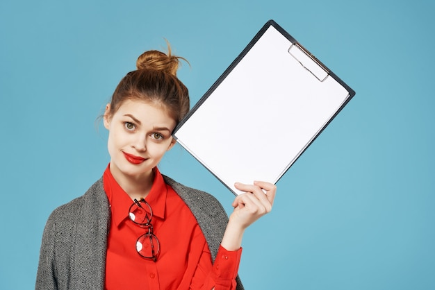 Woman in a suit business style professional job secretary copy space